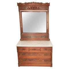Marble-Top Walnut Dresser