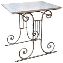 Marble-Top White Painted Iron Base Table