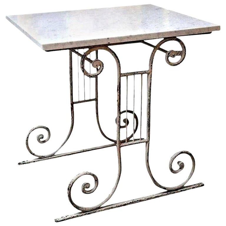 Marble-Top White Painted Iron Base Table For Sale