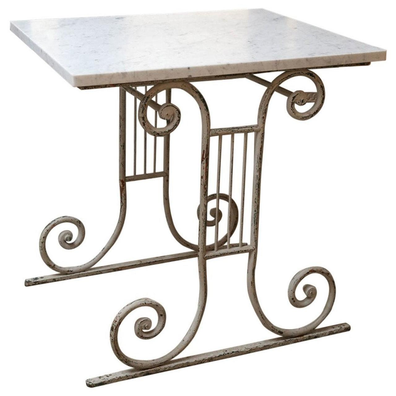 Marble-Top White-Painted Iron Base Table
