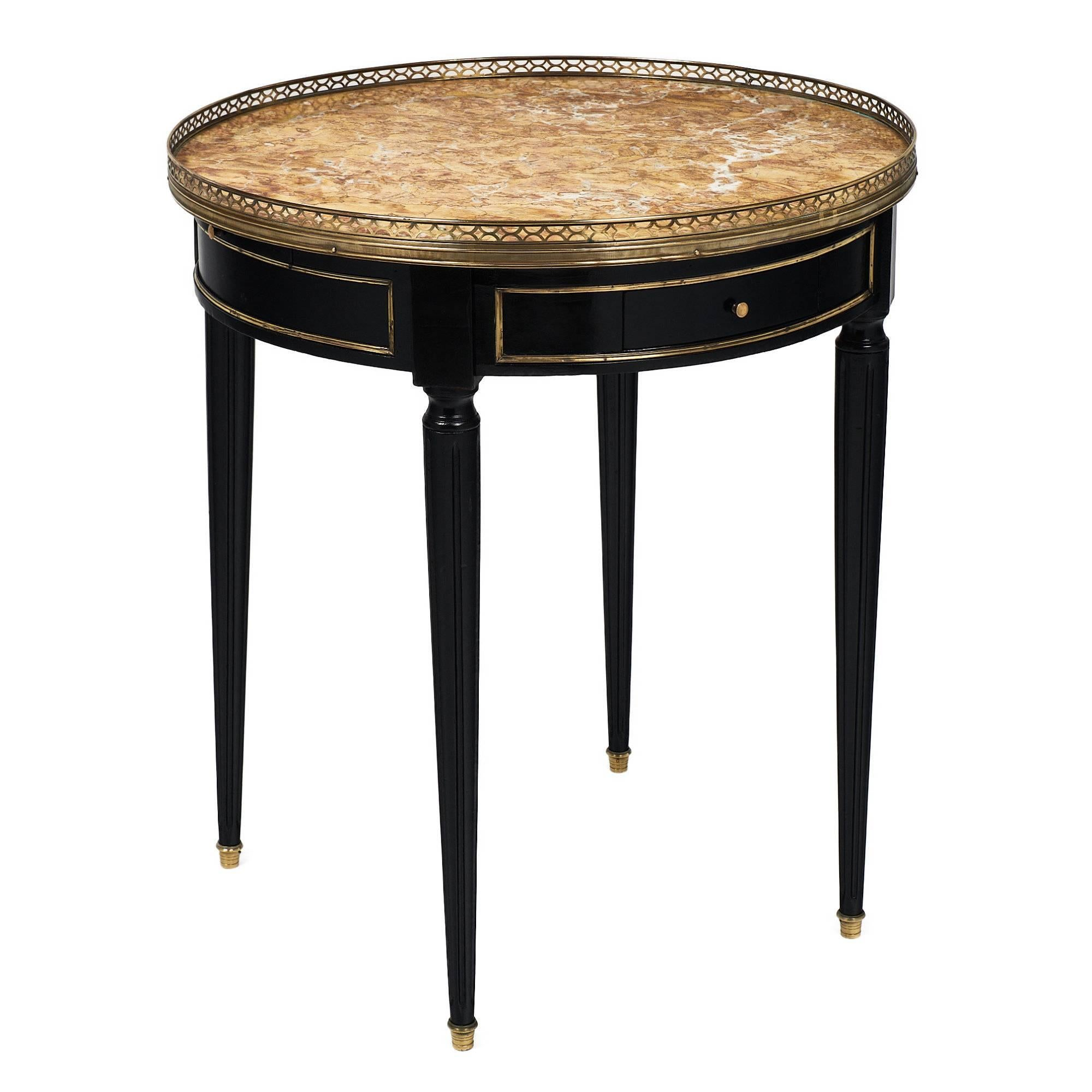 Marble-Topped Antique French Bouillotte Table