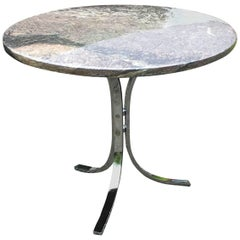 Marble Topped Chrome Side Table