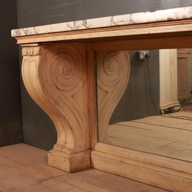 Bleached Marble Topped Console Table For Sale