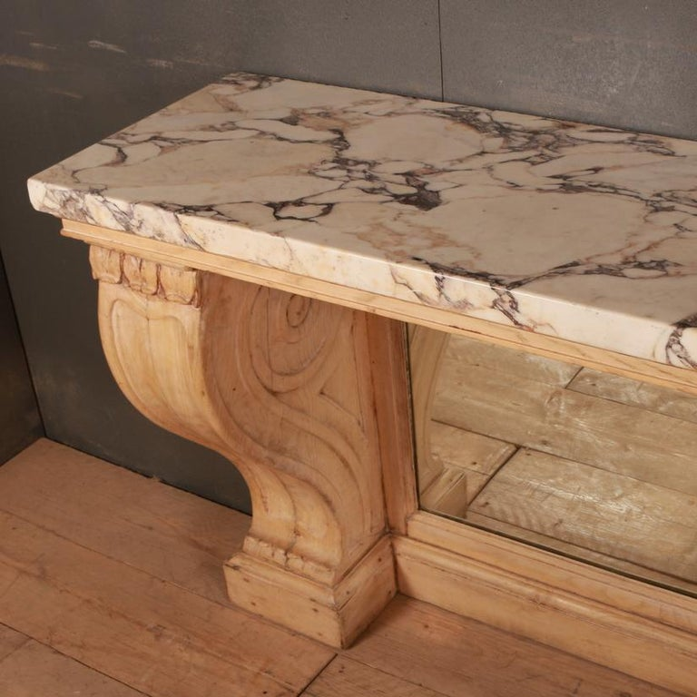 Mirror Marble Topped Console Table For Sale