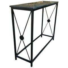 Marble-Topped Console Table Wrought Iron Hall