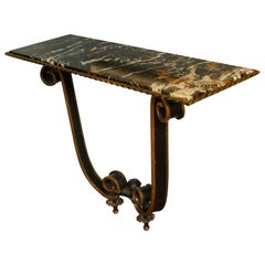 Marble-Topped Wall-Mounted Iron Console