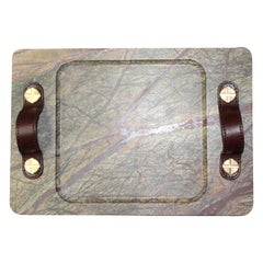Marble Tray Bidasar Color with Leather Straps, Small