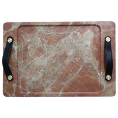 Marble Tray Reddish Color with Leather Straps, Medium