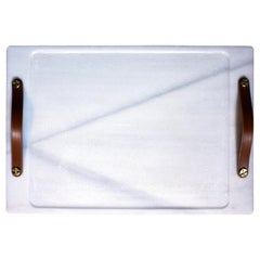 Marble Tray, Macael Tone with Leather Straps, Large
