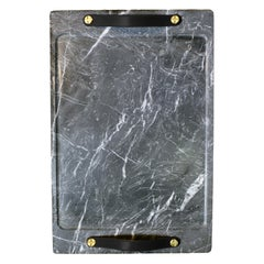 Marble Tray Marquina Color with Leather Straps, Large