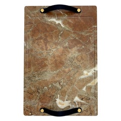 Marble Tray Reddish Color, with Leather Straps, Large