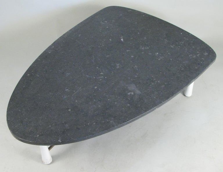 American Marble Triangular 1950s Cocktail Table For Sale