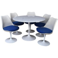 Marble Tulip Dining Set by Saarinen for Knoll with Five Tulip Swivel Chairs