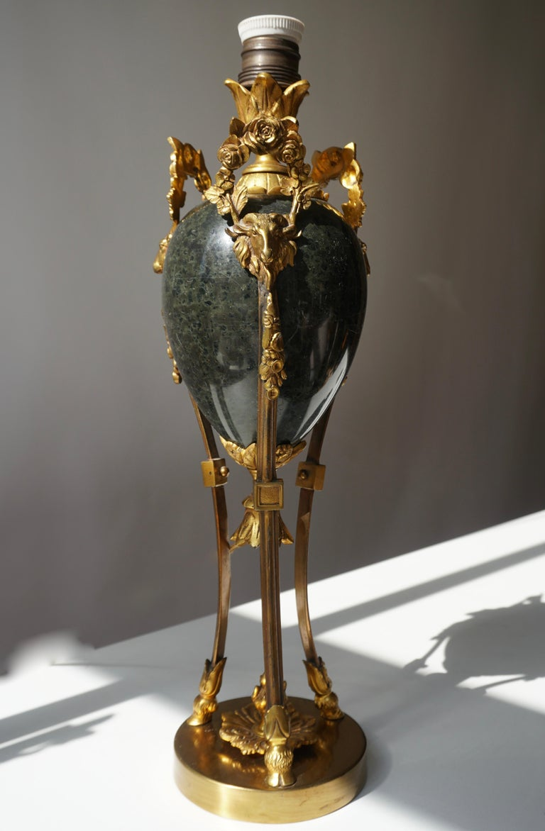 French Marble Urn Form Lamp with Bronze Rams Heads and Ormolu For Sale