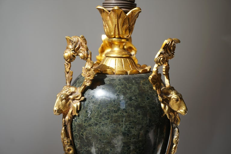 Marble Urn Form Lamp with Bronze Rams Heads and Ormolu For Sale 1