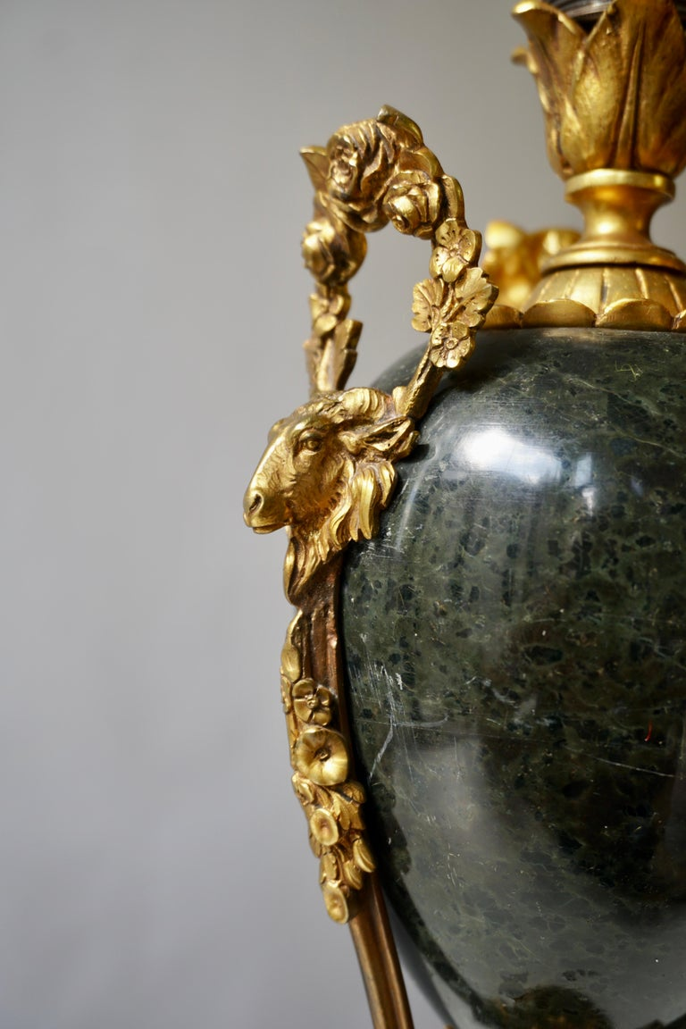 Marble Urn Form Lamp with Bronze Rams Heads and Ormolu For Sale 2