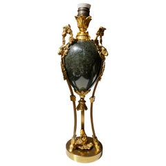 Marble Urn Form Lamp with Bronze Rams Heads and Ormolu
