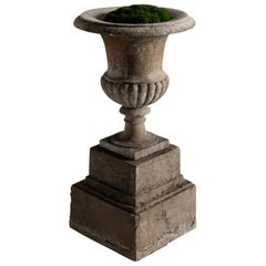 Marble Urn on Stone Plinth