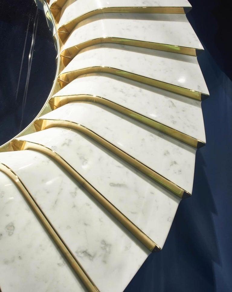 Polished Italian Marble Wall Mirror in White Carrara and Brass by Ferruccio Laviani For Sale