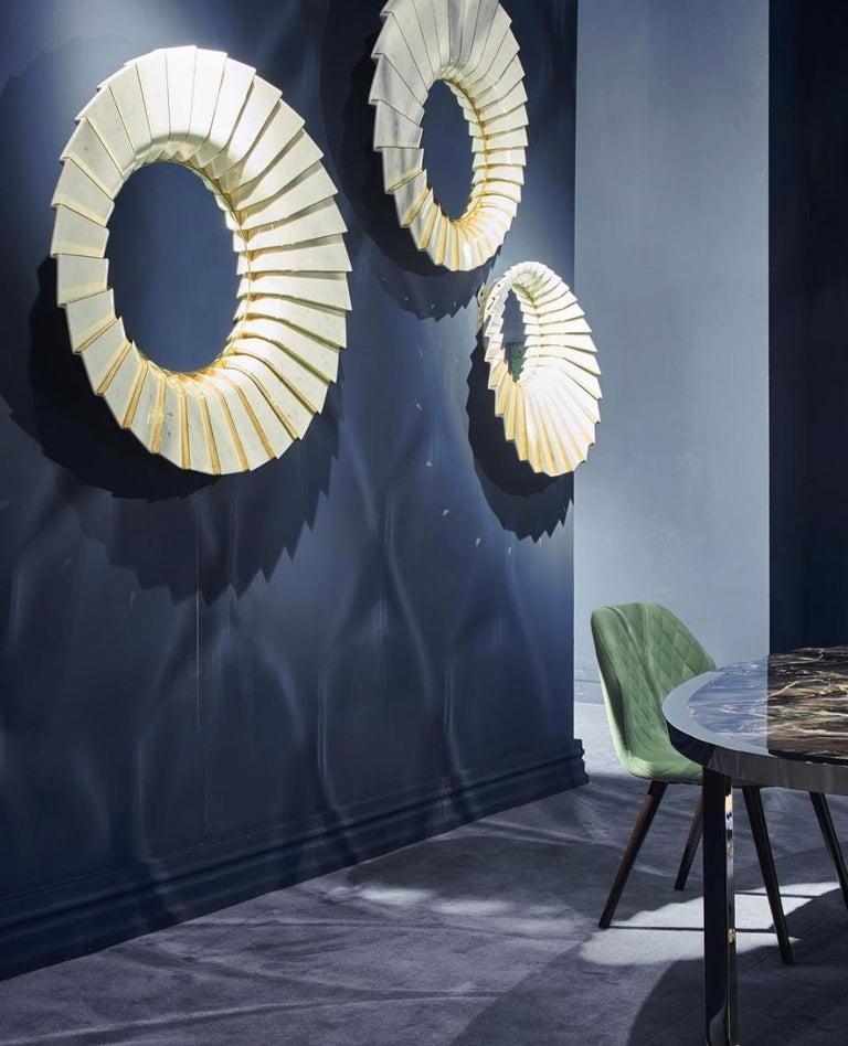 Contemporary Italian Marble Wall Mirror in White Carrara and Brass by Ferruccio Laviani For Sale