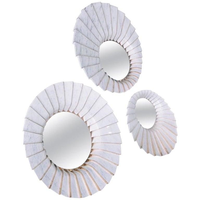 Italian Marble Wall Mirror in White Carrara and Brass by Ferruccio Laviani For Sale