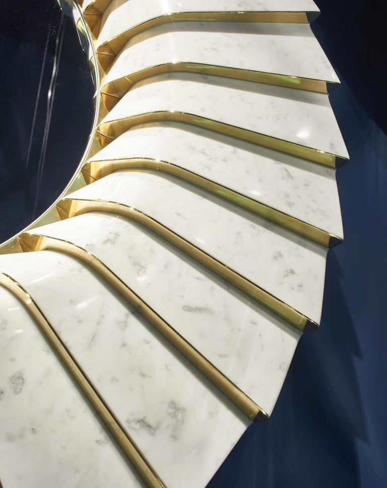 Polished Italian Marble Wall Mirror in White Carrara and Brass, by Ferruccio Laviani For Sale