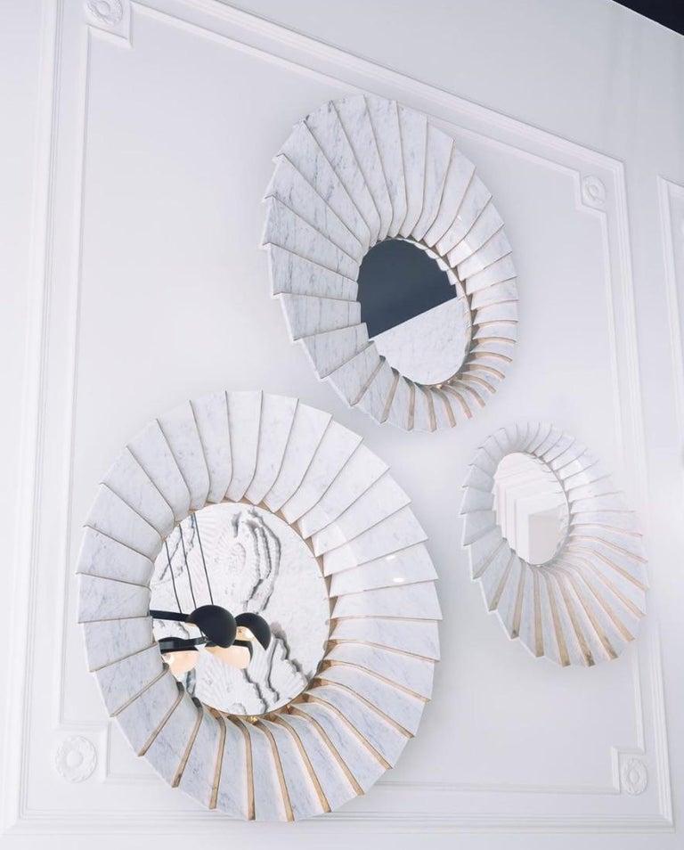 Contemporary Italian Marble Wall Mirror in White Carrara and Brass, by Ferruccio Laviani For Sale