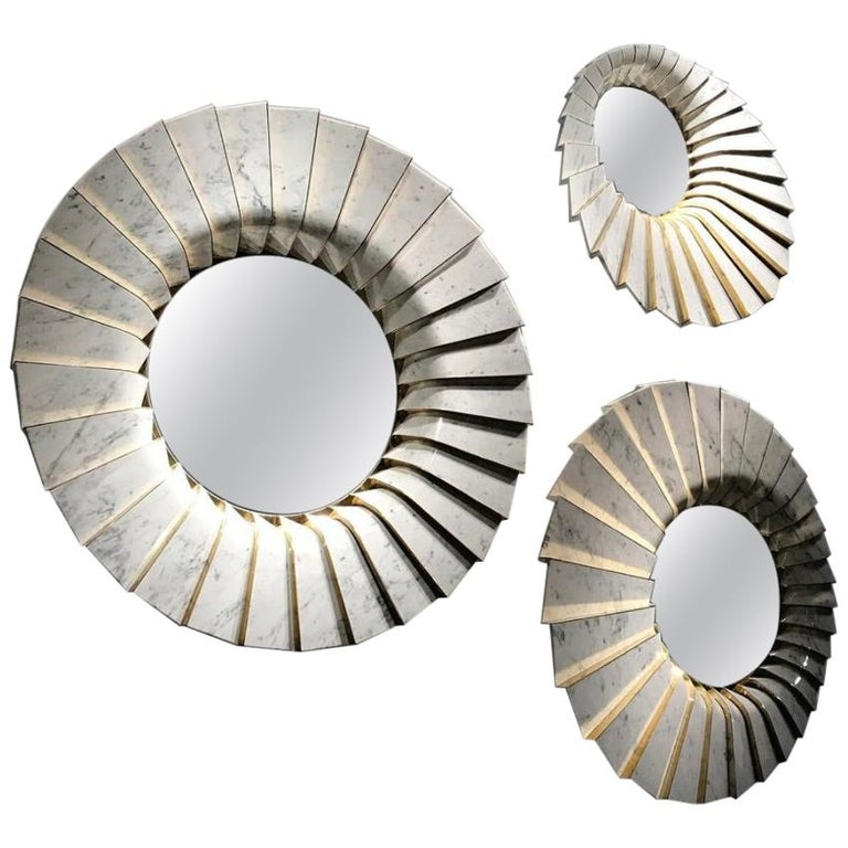 Italian Marble Wall Mirror in White Carrara and Brass, by Ferruccio Laviani For Sale