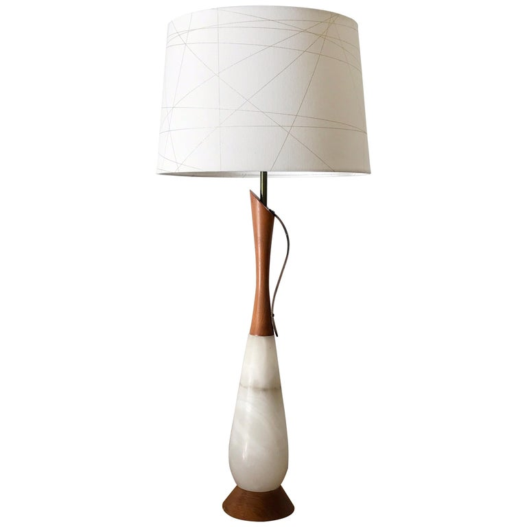 Marble, Walnut, and Brass Mid-Century Modern Table Lamp For Sale
