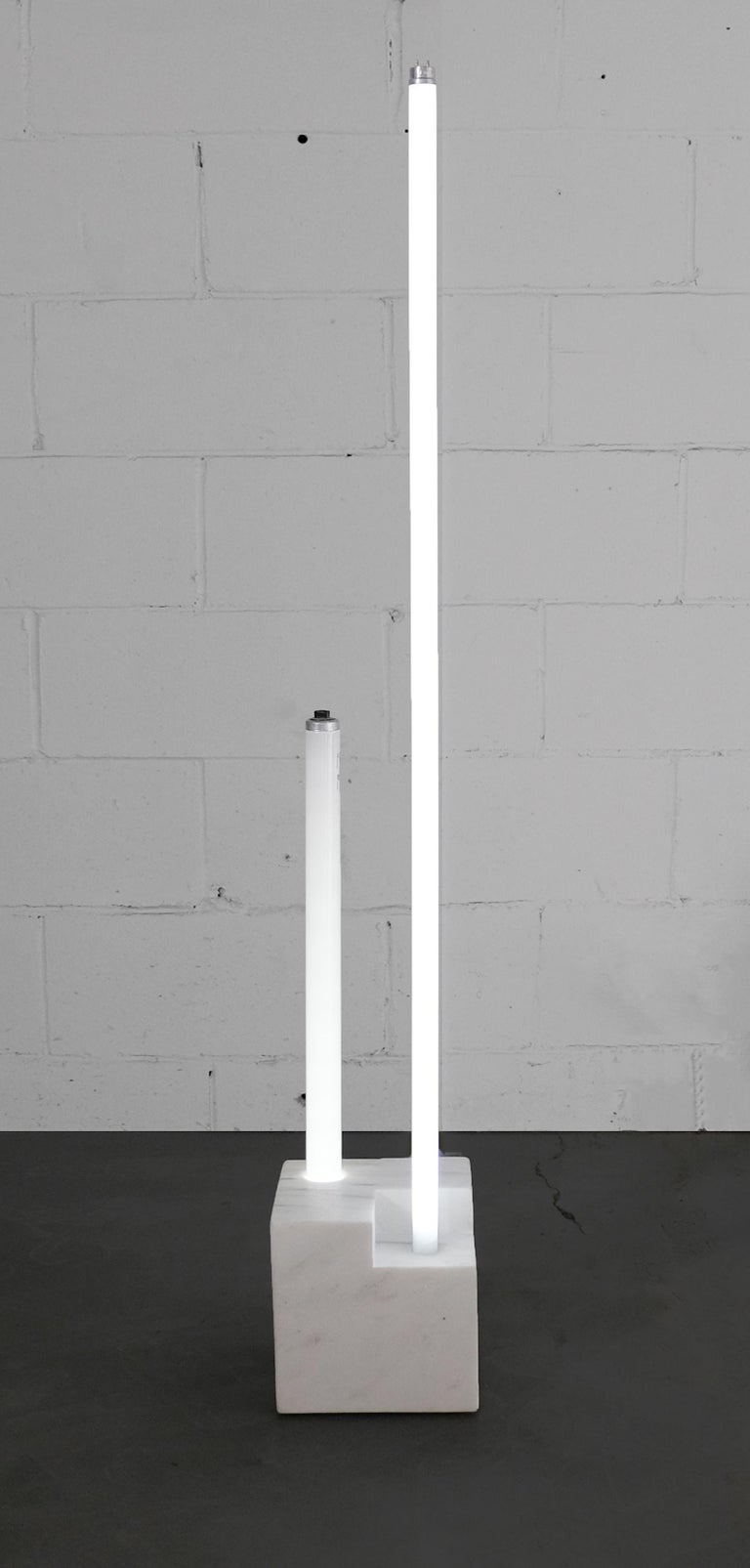 Marble with Fluorescent Tube Lamps In Excellent Condition For Sale In Toronto, Ontario