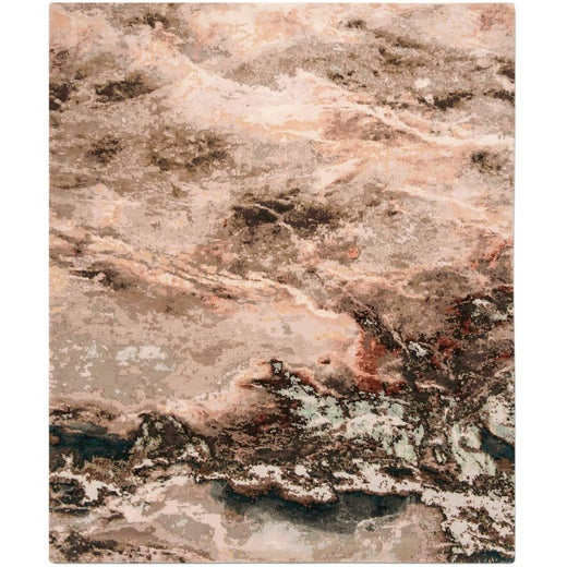 'Marble_Storm' Hand-Knotted Wool and Silk Tibetan Rug