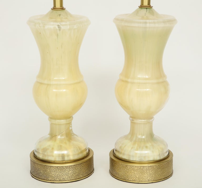 Marbled Murano Glass Lamps In Good Condition For Sale In New York, NY