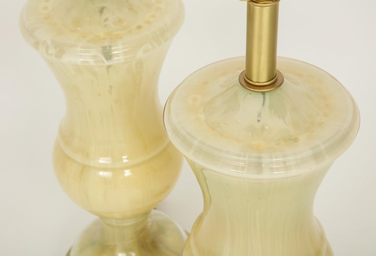 Brass Marbled Murano Glass Lamps For Sale