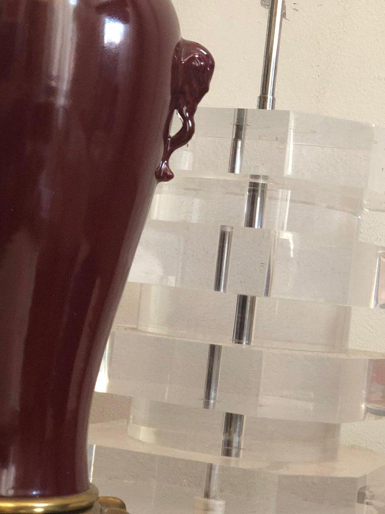 Qing Marbro Oxblood Elephant-handled Chinese Urn Table Lamp Sangre de Boeuf Regency For Sale