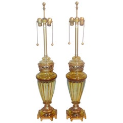 Marbro Lamp Company Pair of Sommerso Glass Lamps by Archimede Seguso