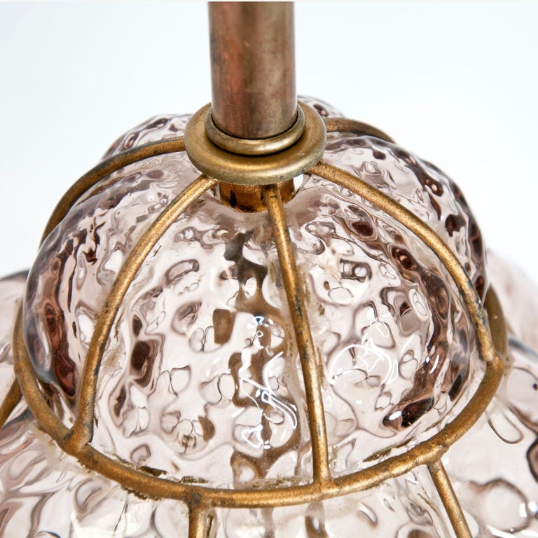 Marbro Murano Caged Glass Lamp In Good Condition For Sale In Palm Springs, CA