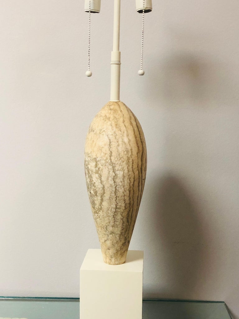 Marbro Noguchi Style Marble Sculpture Large Table Lamp For Sale 4