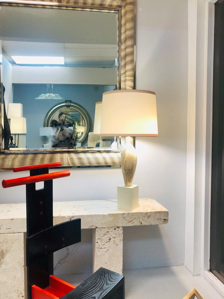 Marbro Noguchi Style Marble Sculpture Large Table Lamp In Good Condition For Sale In Miami, FL