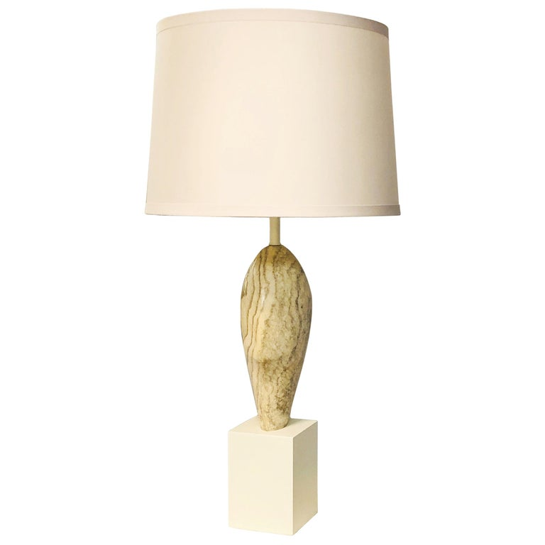 Marbro Noguchi Style Marble Sculpture Large Table Lamp For Sale