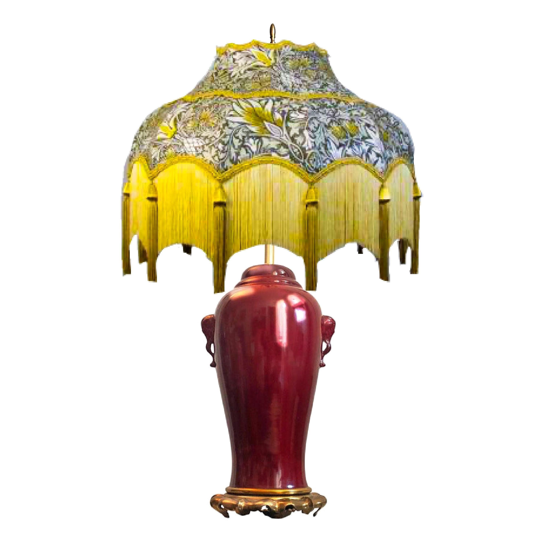 Marbro Oxblood Elephant-handled Chinese Urn Table Lamp Sangre de Boeuf Regency