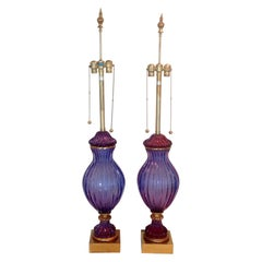 Marbro Pair of Monumental Purple Sommerso Lamps with Glass by Seguso