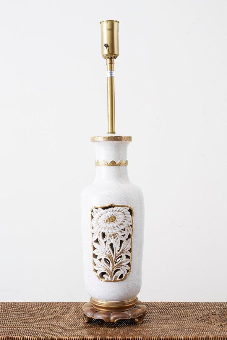 Marbro Parcel-Gilt Ceramic Vase Table Lamp For Sale 4