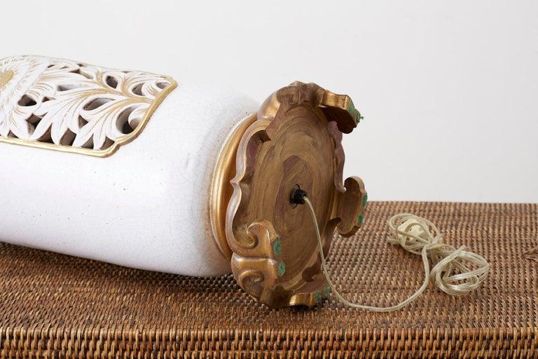 Marbro Parcel-Gilt Ceramic Vase Table Lamp For Sale 7