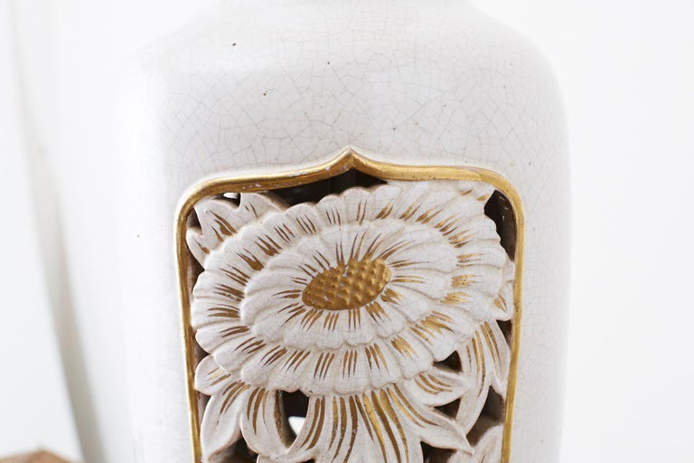 Marbro Parcel-Gilt Ceramic Vase Table Lamp For Sale 8