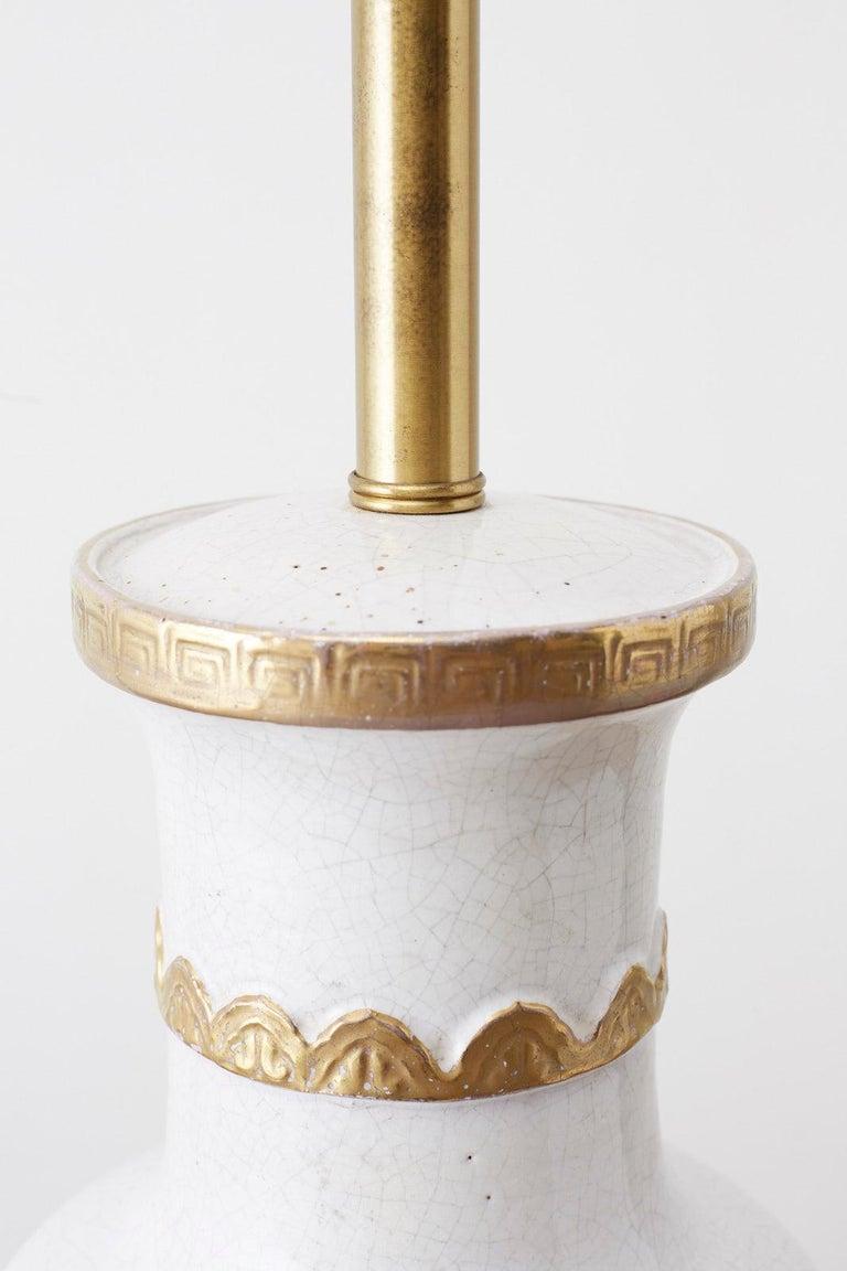 Marbro Parcel-Gilt Ceramic Vase Table Lamp For Sale 9