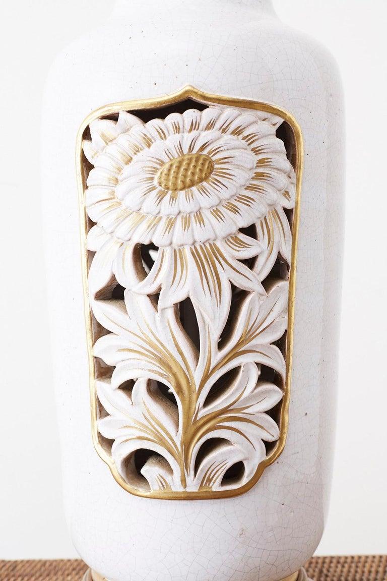 Hollywood Regency Marbro Parcel-Gilt Ceramic Vase Table Lamp For Sale