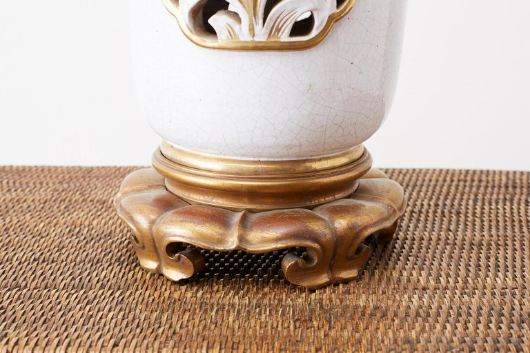 American Marbro Parcel-Gilt Ceramic Vase Table Lamp For Sale