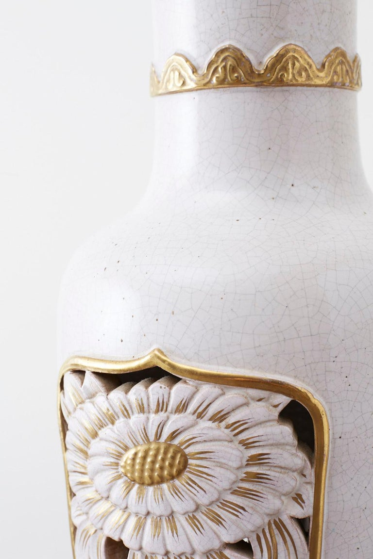 Brass Marbro Parcel-Gilt Ceramic Vase Table Lamp For Sale