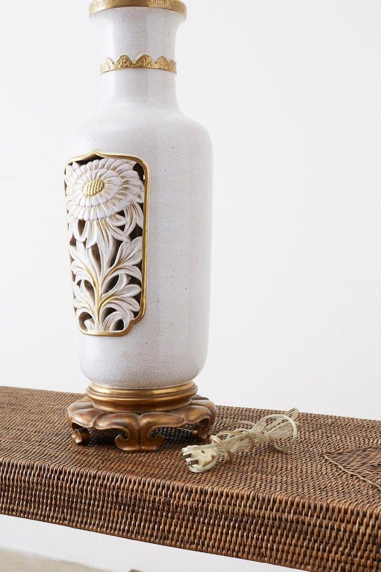 Marbro Parcel-Gilt Ceramic Vase Table Lamp For Sale 1