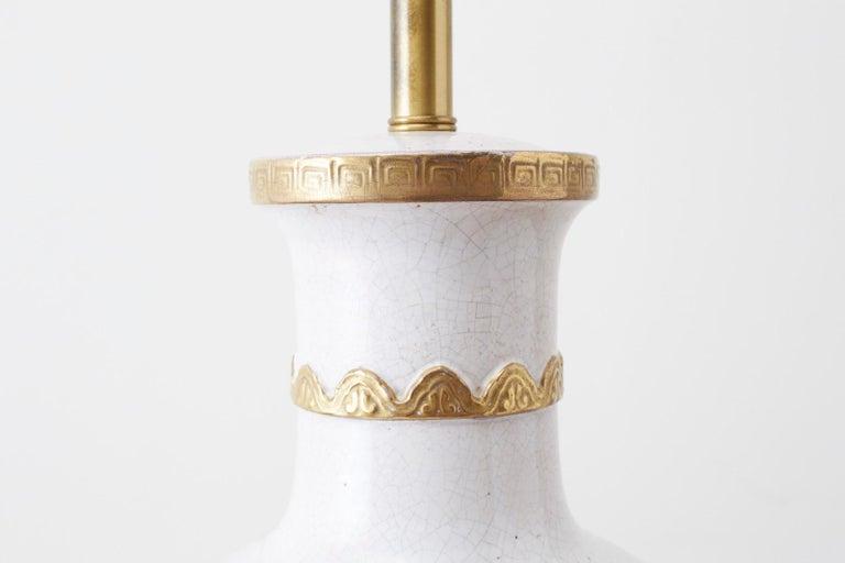 Marbro Parcel-Gilt Ceramic Vase Table Lamp For Sale 2